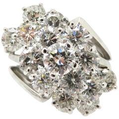 Designer Kurt Wayne 5.00 Carat Round Waterfall Diamond Ring 14 Karat Gold