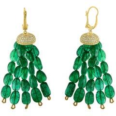 150 Carat Emerald Beads and Diamond Hanging Earrings 14 Karat Gold