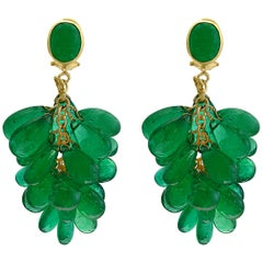 140 Carat Colombian Emerald Briolettes Hanging Drop Earrings 18 Karat Gold
