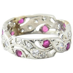 Art Deco Style Diamond and Ruby Platinum Eternity Band Ring