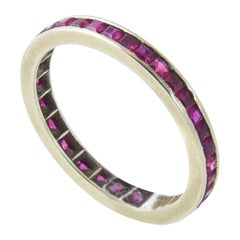 Channel-Set Ruby and Gold Eternity Band Ring