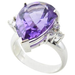 Amethyst and Diamond White Gold Cocktail Ring