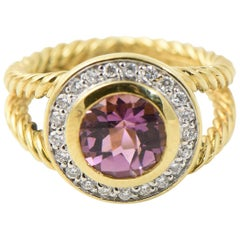 David Yurman Petite Cerise Amethyst and Diamond Gold Ring