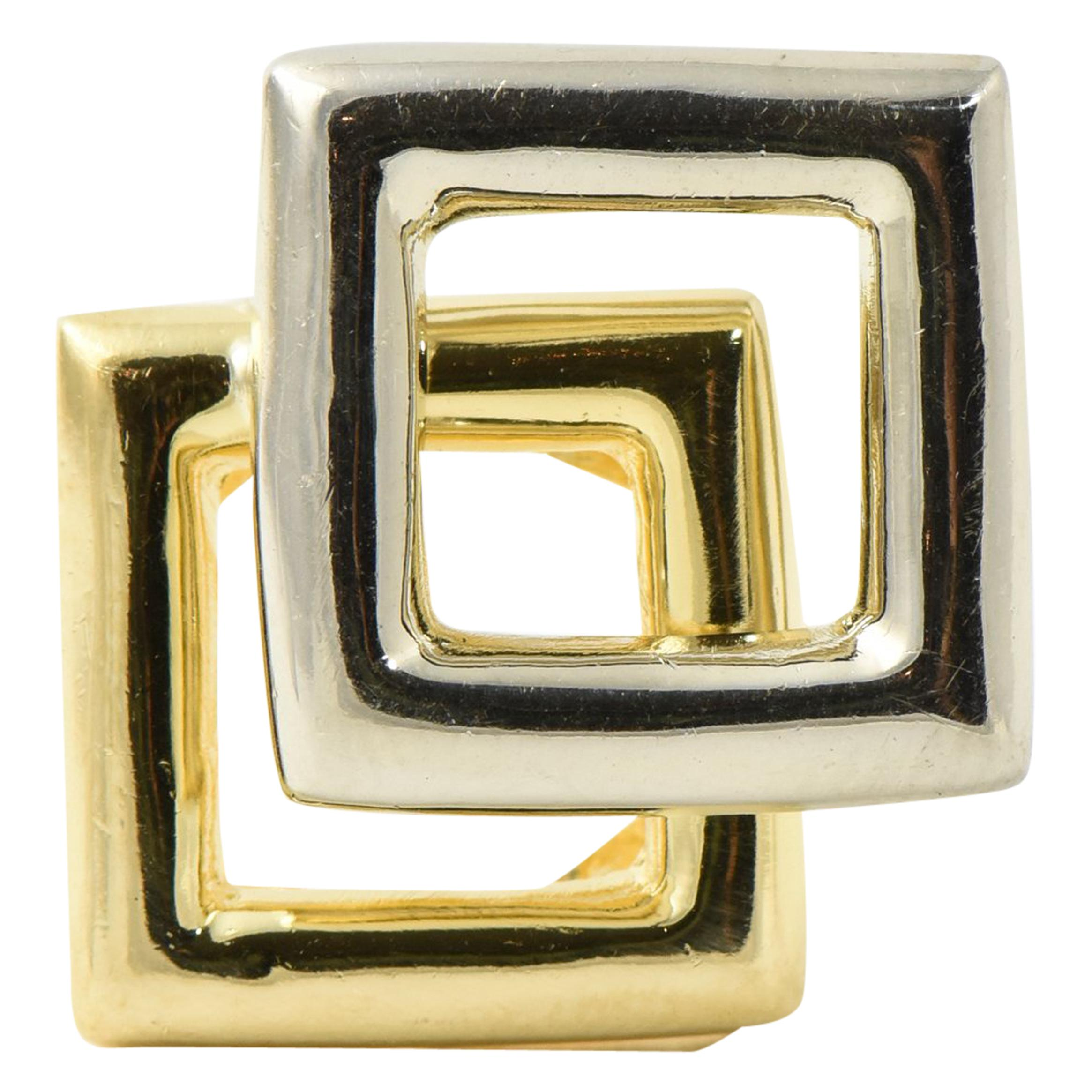 Mid 20th Century Geometric White and Yellow Square Gold Ring