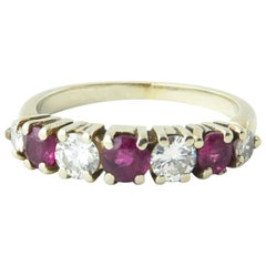 Seven-Stone Diamond and Ruby Band Ring