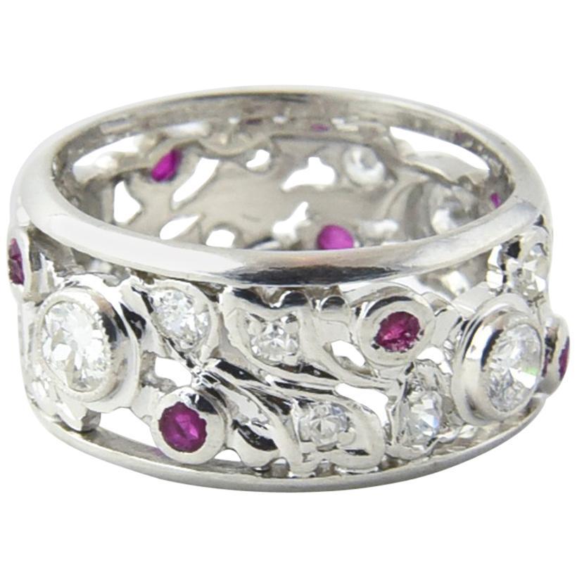 Art Deco Ruby and Diamond Platinum Band Ring