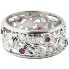 Art Deco Ruby and Diamond Platinum Band Ring