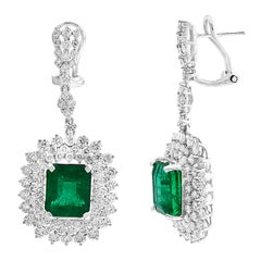 9 Carat Colombian Emerald Cut Emerald Diamond Hanging Earrings 18 Karat Gold