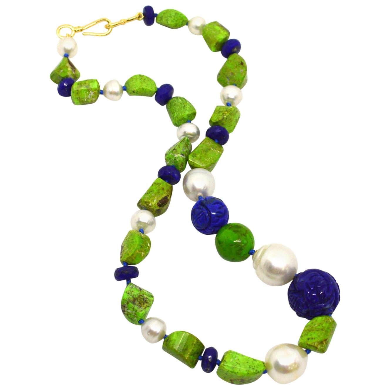 Decadent Jewels Lapis Lazuli Gaspeite Australian South Sea Pearl Gold Necklace