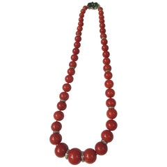 Red Natural Coral Bead Diamond Necklace