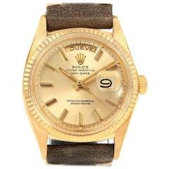 Rolex President Day-Date 18 Karat Yellow Gold Brown Strap Men's Watch 1803