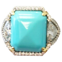 Turquoise and White Diamond Cocktail Ring in Platinum