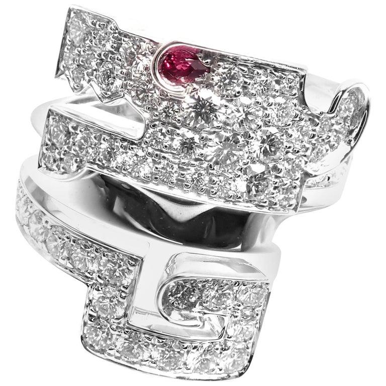 Cartier Le Baiser Du Dragon Ruby Diamond Gold Ring For Sale
