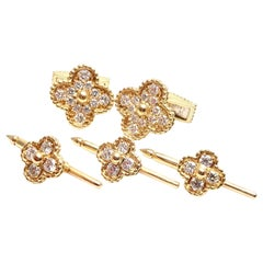 Van Cleef & Arpels Alhambra Diamond Yellow Gold Cufflinks and Stud Dress Set
