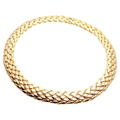 Vintage Van Cleef & Arpels Basket Weave Wide Yellow Gold Choker Necklace