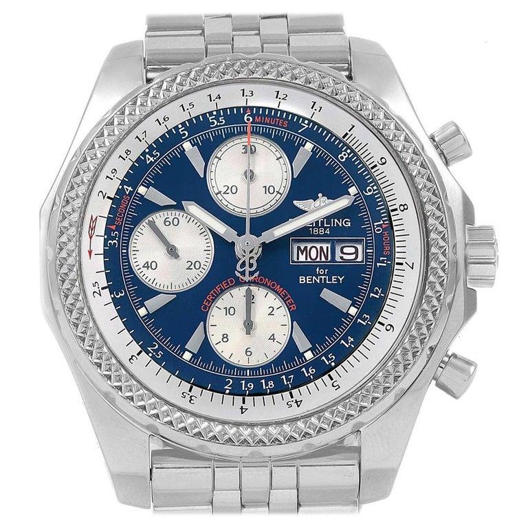 Breitling Bentley Motors GT Blue Dial Sreel Men's Watch A13362 For Sale