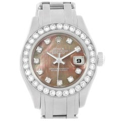Rolex Pearlmaster 18 Karat White Gold Mother of Pearl Diamond Ladies Watch 80299