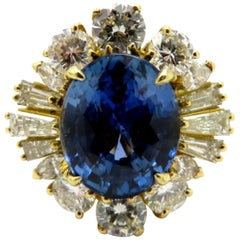 Estate 18 Karat Yellow Gold Sapphire and Diamond Cluster Cocktail Ring