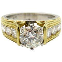 Estate Platinum and 18 Karat White Gold Round Diamond Engagement Ring
