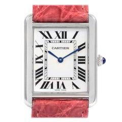 Cartier Tank Solo Steel Silver Dial Pink Strap Unisex Watch W1018355