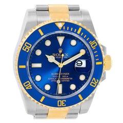Rolex Submariner Steel 18 Karat Yellow Gold Blue Dial Watch 116613
