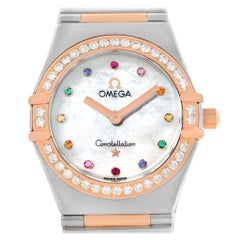 Omega Constellation Iris My Choice Steel Rose Gold Ladies Watch 1373.79