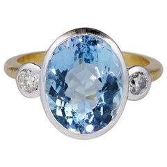 Beautiful 6.0 Carat Natural Aquamarine Diamond Trilogy Ring
