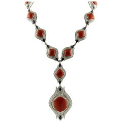 Red Corals, Diamonds, Sapphires Drops, White Gold Necklace
