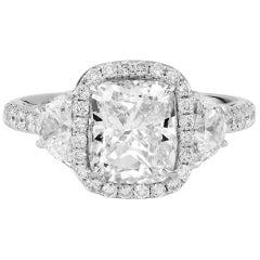 GIA Certified 3 Carat Natural White Cushion 18 Karat White Gold Diamond Ring