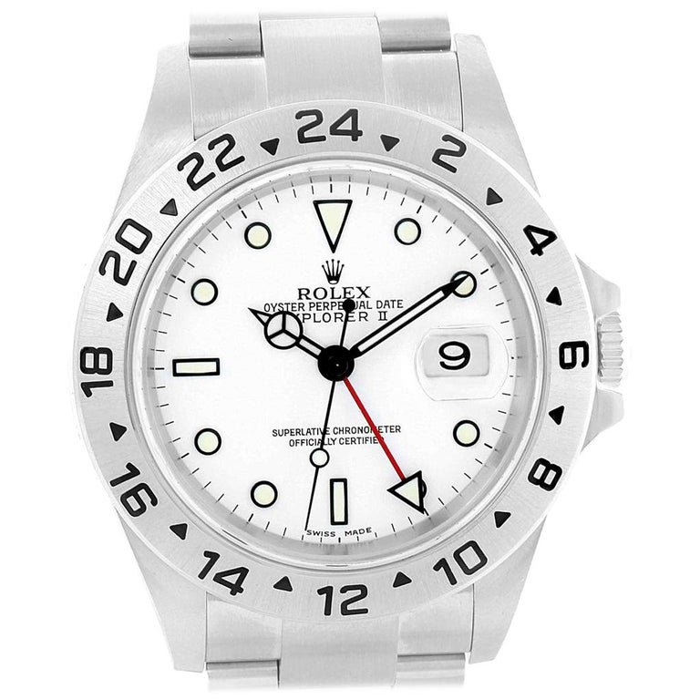 7bb5c0431a6 Rolex Explorer II White Dial Red Hand Steel Men s Watch 16570 For Sale