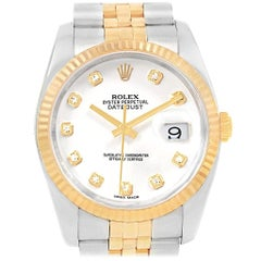 Rolex Datejust Steel Yellow Gold White Diamond Dial Men's Watch 116233