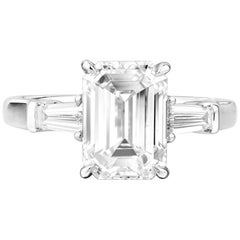 GIA Natural 3.37 Carat Emerald Cut White Diamond 18 Karat Gold Engagement Ring