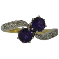 Antique 18 Carat Gold and Platinum Amethyst Toi et Moi Ring with Diamonds