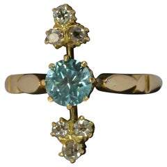Edwardian 18 Carat Gold Blue Zircon and Old Cut Diamond Ring