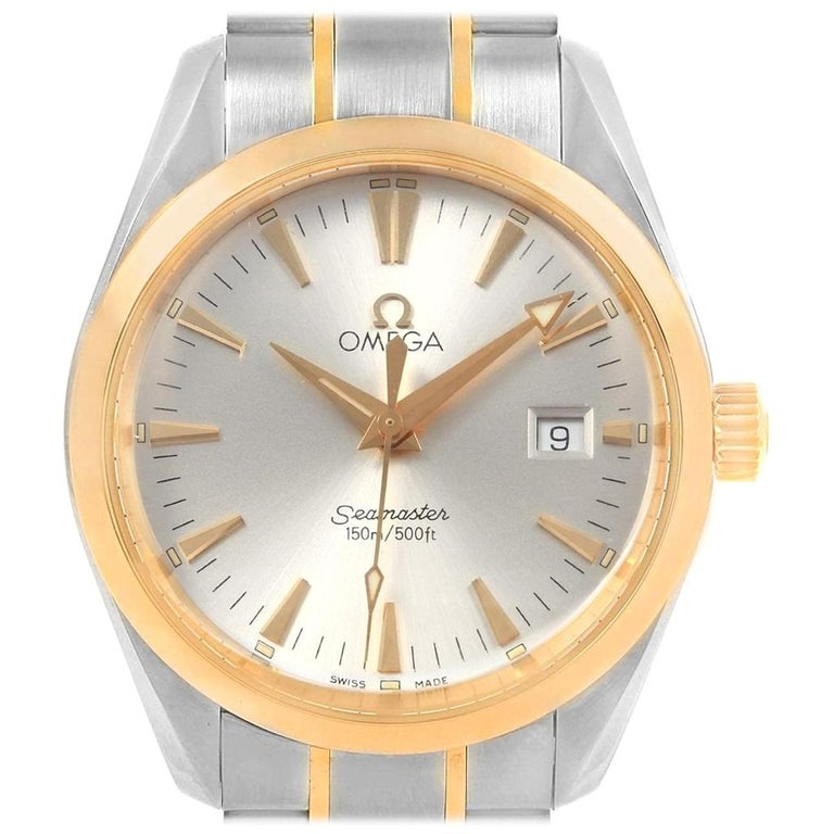 2eec602122d0 Omega Seamaster Aqua Terra Midsize Steel Yellow Gold Watch 2318.30.00 For  Sale