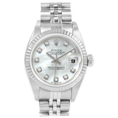 Rolex Datejust Mother of Pearl Diamond Dial Steel White Gold Ladies Watch 79174