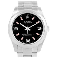 Rolex Midsize Black Dial Pink Hour Markers Ladies Watch 177200