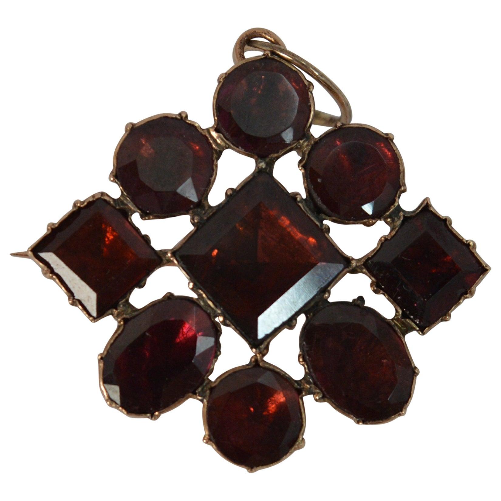 Georgian 9 Carat Rose Gold and Closed Foiled Back Garnet Brooch and Pendant