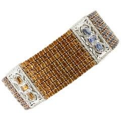 Diamonds, Rubies Peridots, Iolite, Garnets, Topaz White Rose Gold Bracelet
