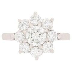 Vintage Diamond Daisy Cluster Ring, circa 1950s