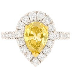 GIA Certified 1.29 Carat Fancy Color Diamond Halo Engagement Ring