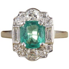 Contemporary Emerald and Diamond Cluster Ring Set in Platinum