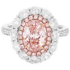 GIA Natural 3.50 Carat Light Pink Oval Diamond Gold Cocktail Engagement Ring