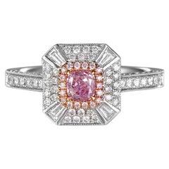 GIA Natural Fancy Pink Purple Diamond 18 Karat Gold Cushion Cocktail Ring