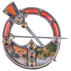 Antique Victorian Scottish Penannular Celtic Brooch Agate Citrine Silver