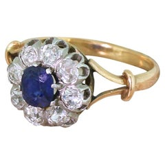 Art Deco 0.65 Carat Sapphire and 0.72 Carat Diamond Ring