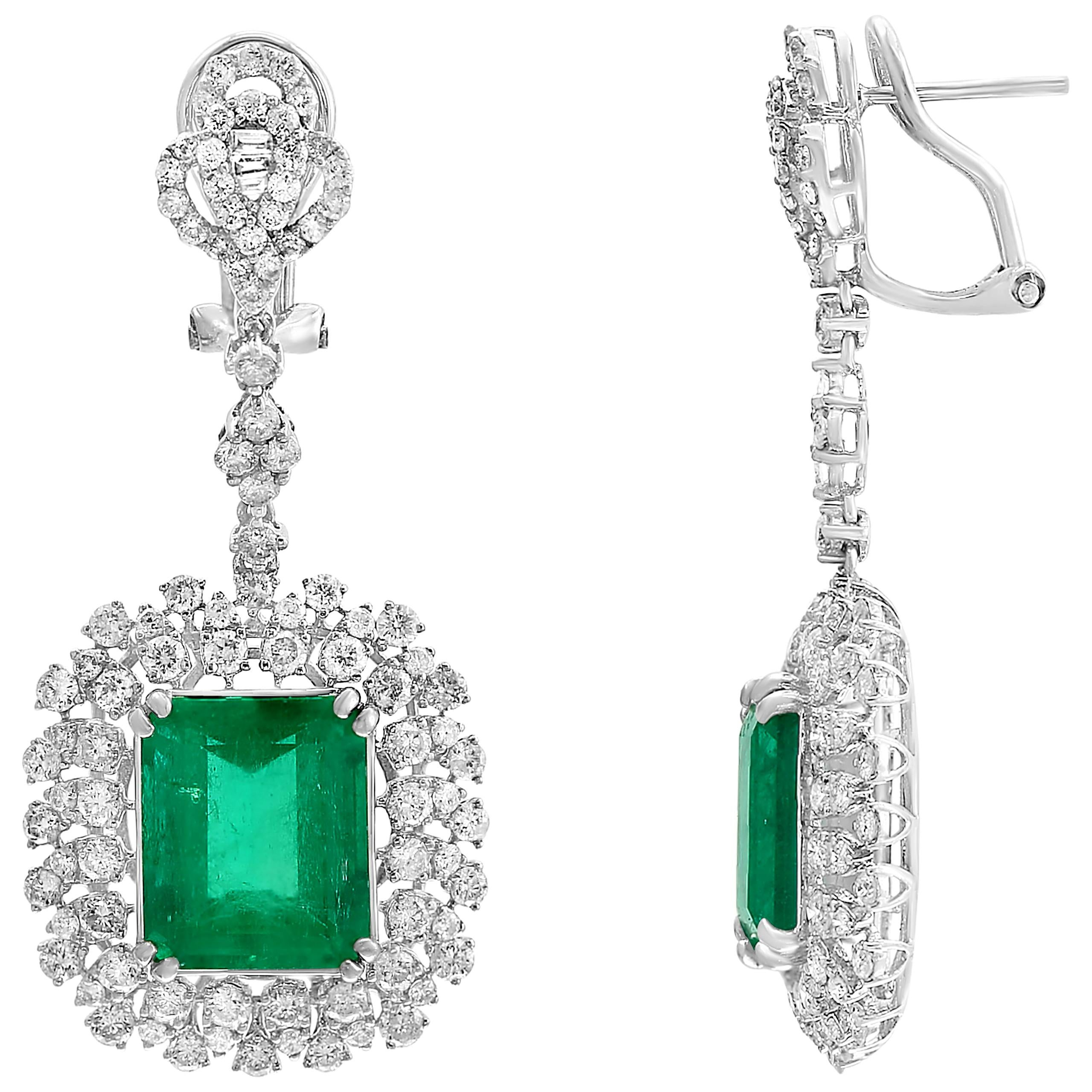 10 Carat Colombian Emerald Cut Emerald Diamond  Hanging /Drop Earrings 18Kt Gold