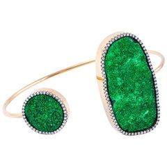 Karolin Bracelet Green Uvarovite White Diamonds Pink Gold Bangle