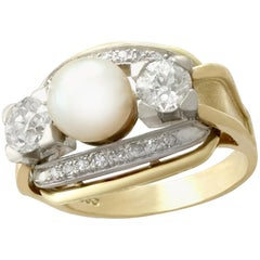 1950s Cultured Pearl and 1.23 Carat Diamond Yellow Gold Cocktail Ring