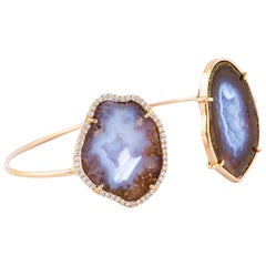 Karolin Bracelet Agate Geode White Diamond Rose Gold Bangle